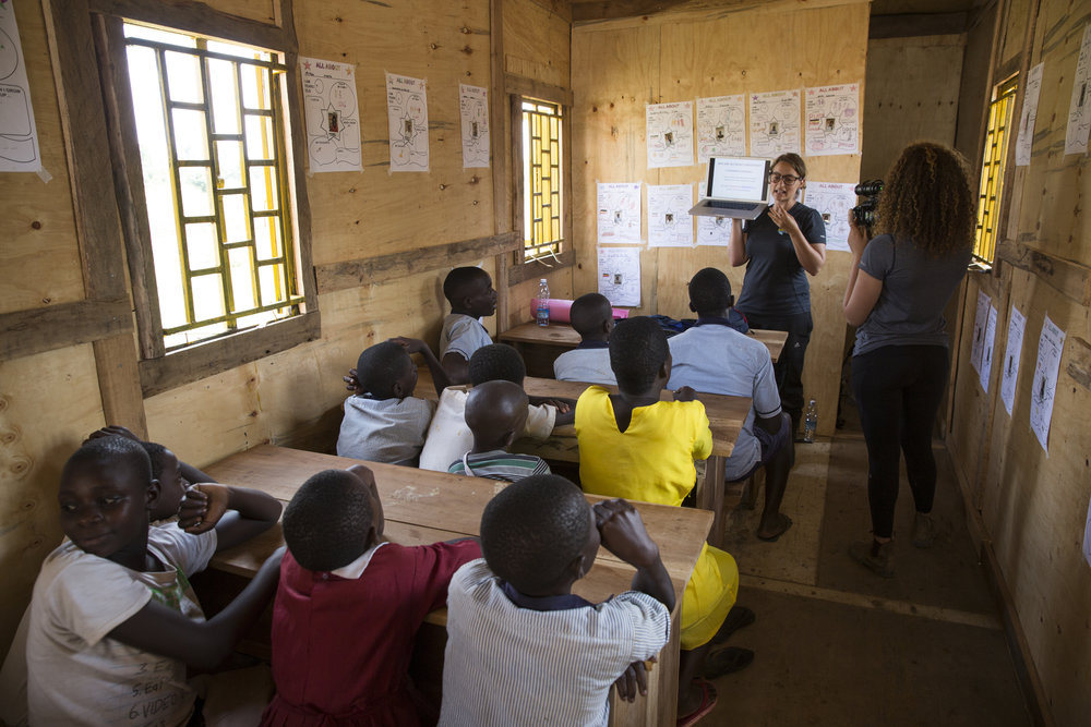 Discussing the lesson for the day at Jonathan Netanyahu Memorial School in the BrightBox: Macro in Putti Village, Uganda