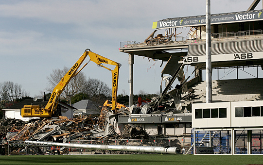 Demolition of Eden Park's old South Stand gets underway. Photo: Jason Oxenham/SNL