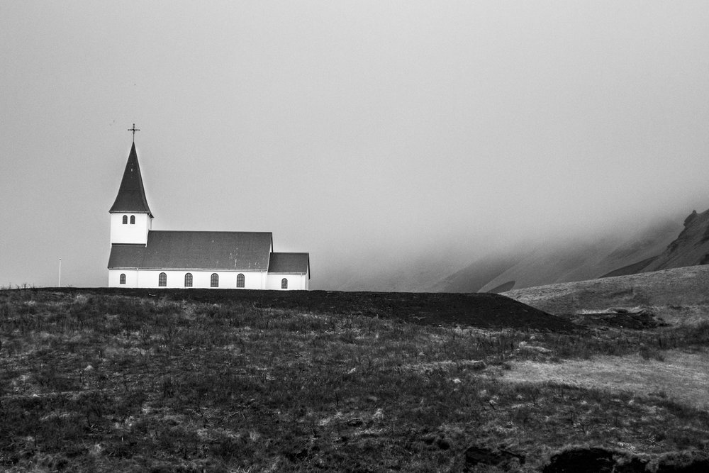 Lone church in Vík, Iceland