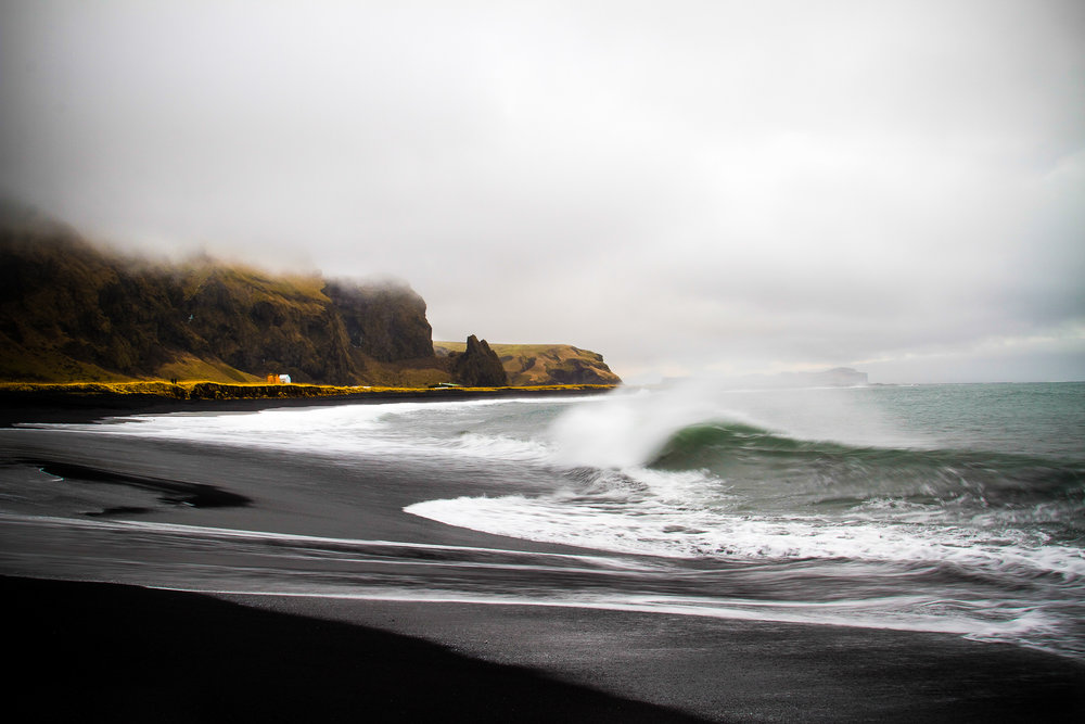 Black sandy beaches in Vík, Iceland