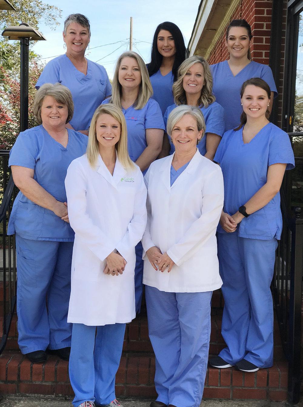 Top row, left to right: Sherry Sease, Receptionist; Erica Thomas, Dental Assistant; Mikayla Finnen, Dental Assistant    Middle: Cindy Bracknell, Receptionist; Karen Fondren, Registered Dental Hygienist; Karen Sessoms, Registered Dental Hygienist; Kaley Whaley, Dental Assistant    Bottom: Dr. Chelsea Maniscalco, DMD; Dr. Jennifer Wright, DMD