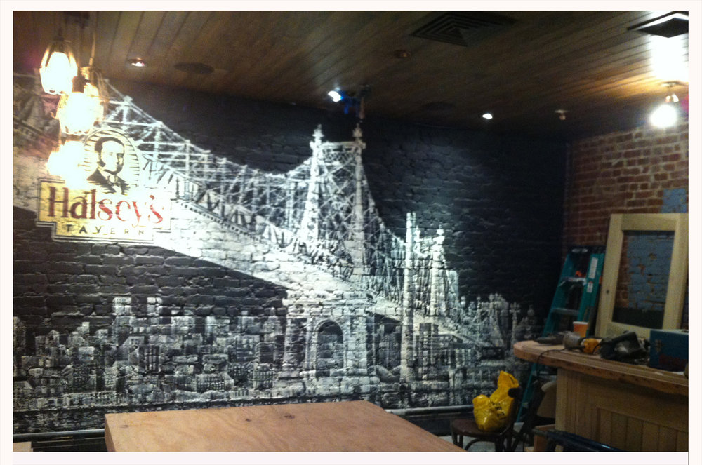 59th St Bridge - acrylic mural - 30' x15'  http://www.halseystavern.com/                                 collaboration with JILLIAN LEEDY