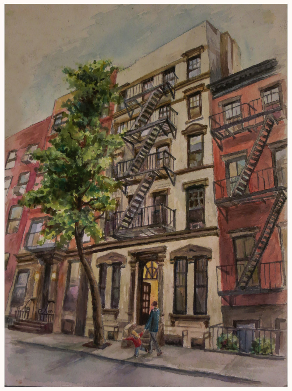 10th Street -  watercolor on arches- private commission