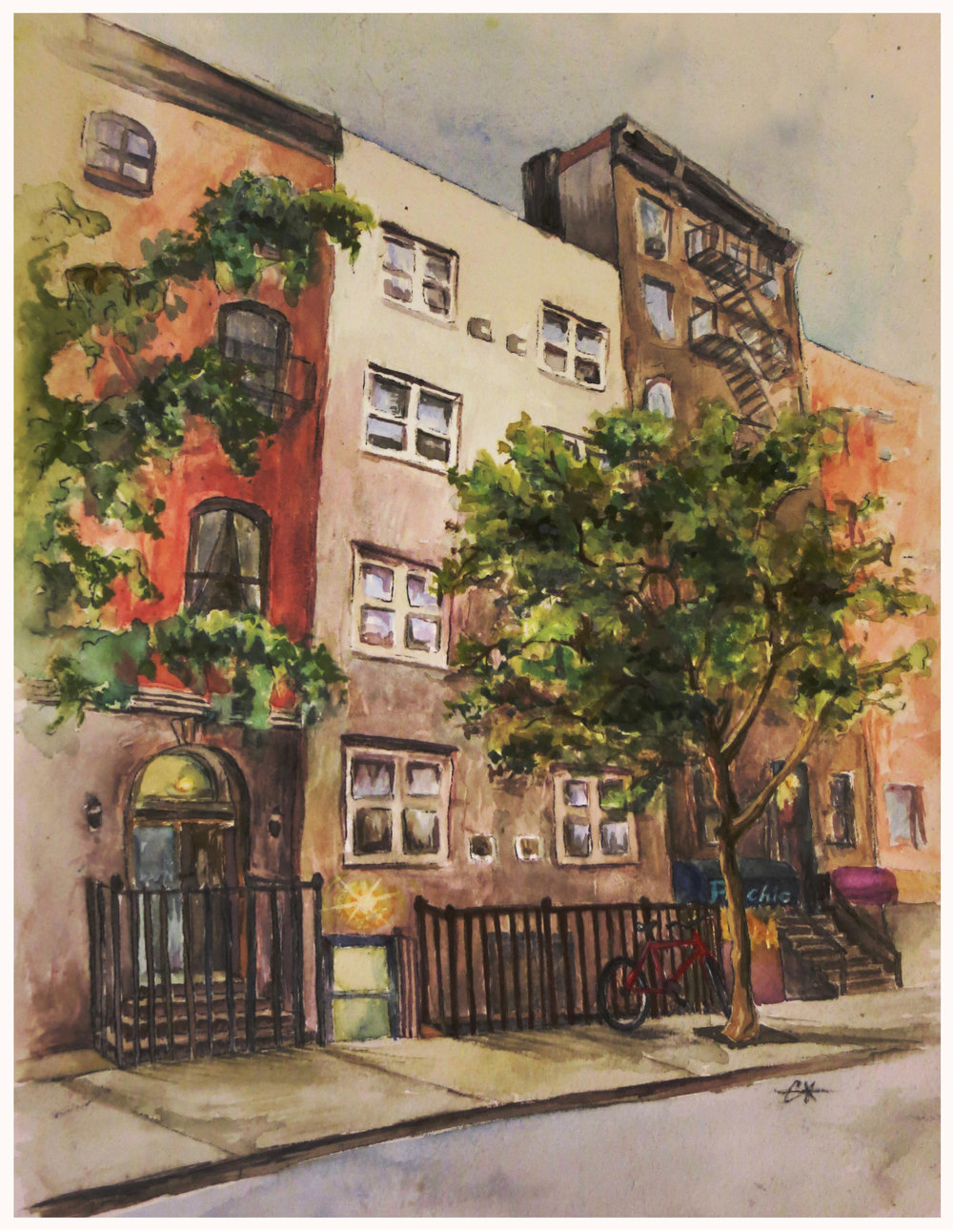 11th Street - watercolor on arches- private commission