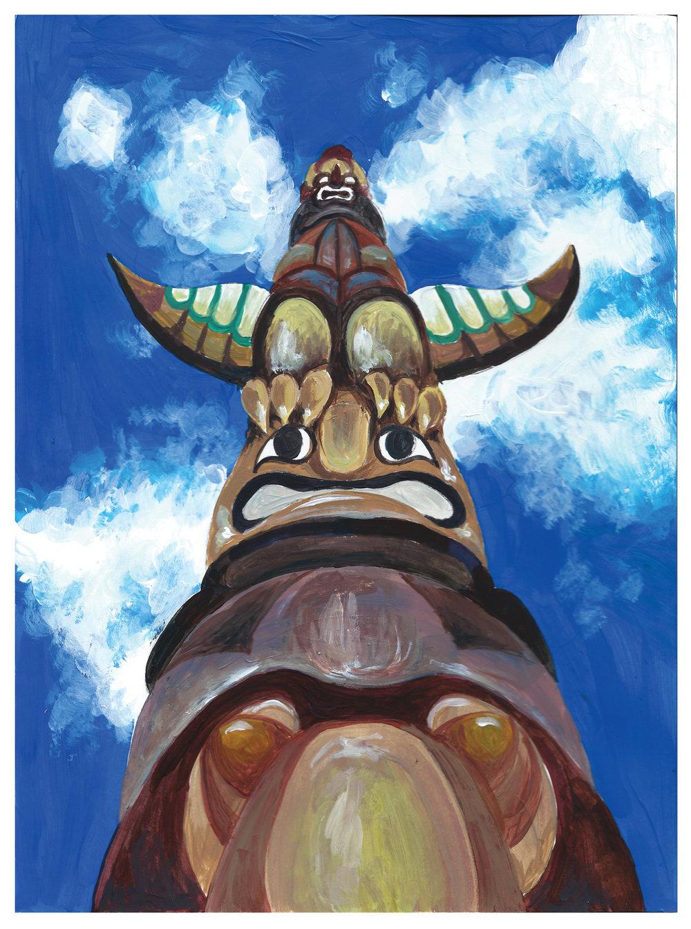 Totem Project (Concept development)  Gouache/ acrylic