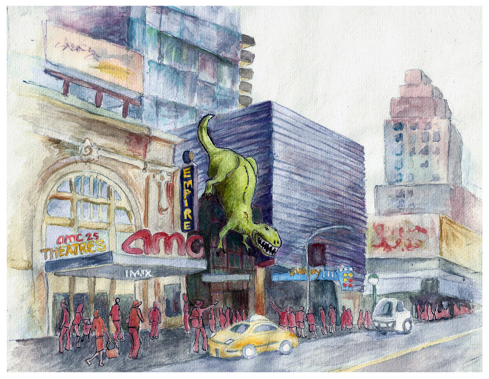 3D Cinema Dinosaur Project (concept development visuals)  watercolor/ pen and ink