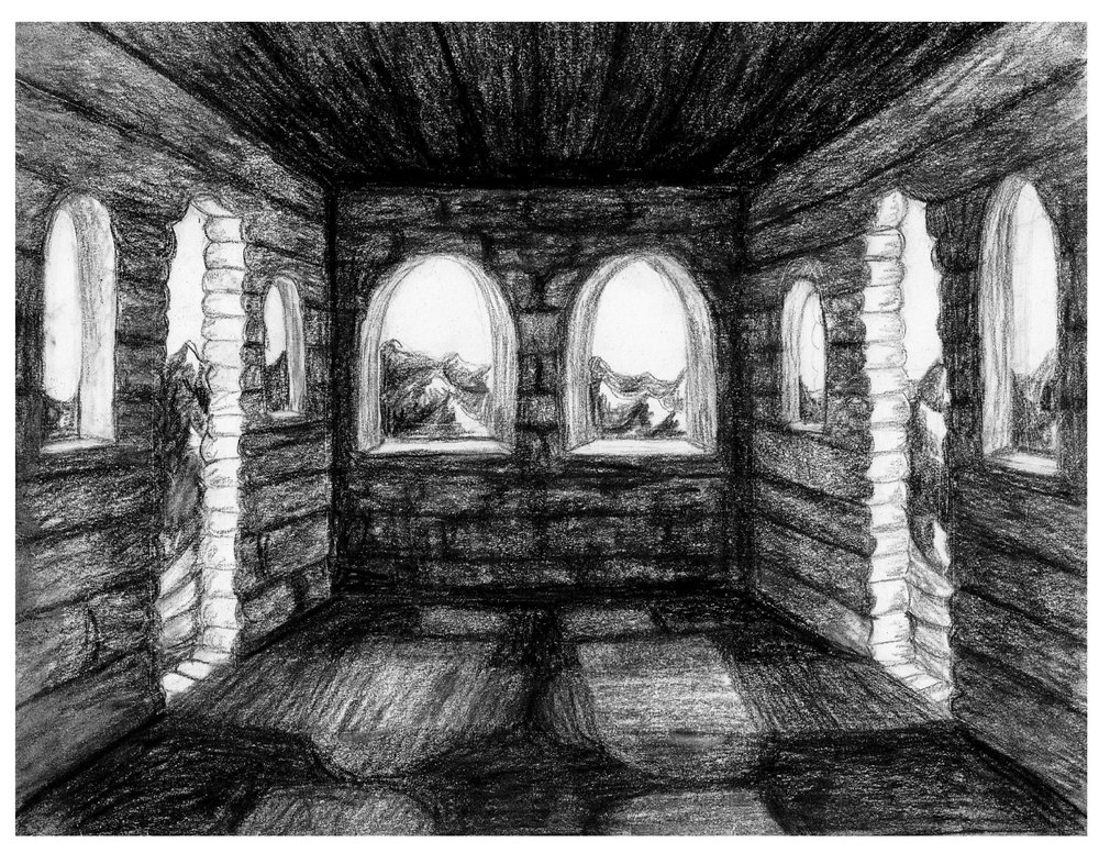 3D Virtual Cinema Great Wall of China (Concept illustration) Charcoal