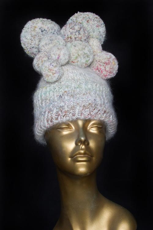 Oyster Pearl Pom Pom Beanie Hat — SPARKLE PRINCESS 36a5479e4fe