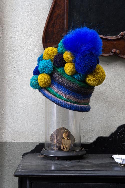 Blue Multi Striped Pom Pom Beanie Hat — SPARKLE PRINCESS e8b6e5fd4e4