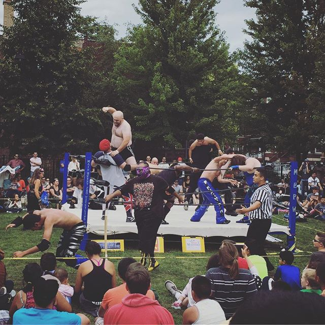 Lucha Libre wrestlers bring absolute mayhem to Unity Park.  #luchalibre #wrestling #middleouest #midwest #logansquare #insanity #chicago