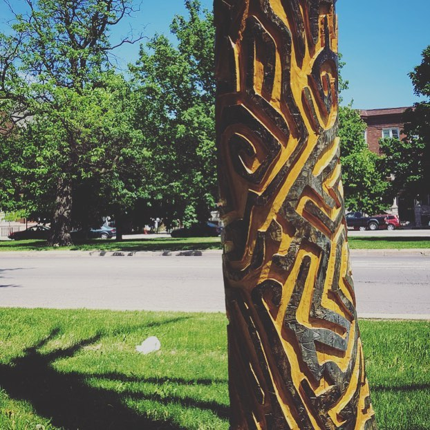 "Art in the Park: The A ""maze""ing Larvae of the Emerald Ash Borer 2017 by Janet Ash in Palmer Square Park.  #middleouest #midwest #logansquare #summerinthecity #memorialdayweekend #art #chicagoparkdistrict #maze"