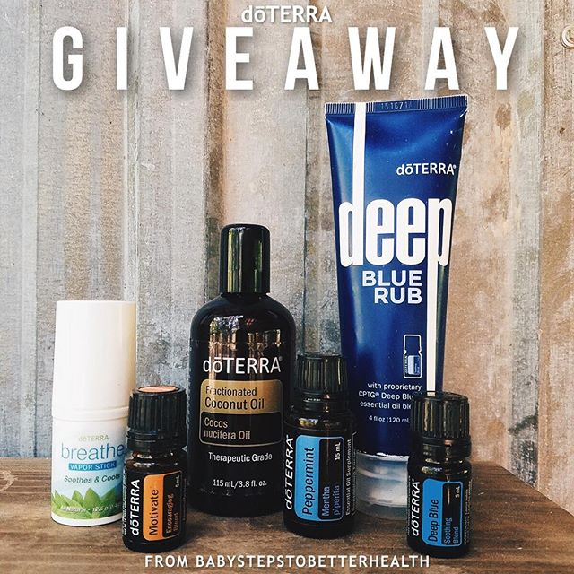 My friend is doing a fun essential oils giveaway this week!! This is for those of you who love using oils or who have always been interested in trying them out! I personally love them!! DETAILS: Win a bottle of deep blue oil, deep blue rub(think natural icy hot), motivate, peppermint, breathe vapor stick and fractionated coconut oil. How to enter:  1. Follow @babystepstobetterhealth  2. Screenshot this picture and post on your account w/ #bsbhGIVEAWAY and tag 3 friends! -Winner announced Sept.9!!