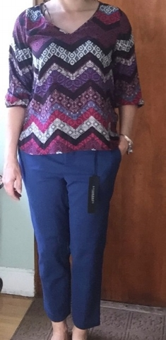 Renee C Tadeo V Neck Blouse, $54 and Liverpool Phillip Straight Let Trouser, $98.  I liked the blouse, but I'm sooooooo tired of polyester. That's all I ever get when it comes to tops and I have my price point set all the way up to $150. What does it take to get a better fabric?  Returned.   The pant is comfortable and I really like the color. They didn't photograph well, but I walked around the house in them and asked S's opinion on whether they looked funny. Consensus is that they fit the way they are supposed to, it's more relaxed than many of my pants and I could use some more relaxed styles.  Kept.