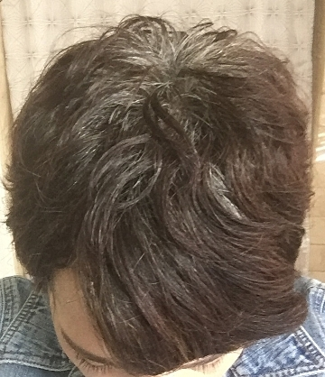 What it looks like when my hair is styled forward (how the cut is supposed to be styled)