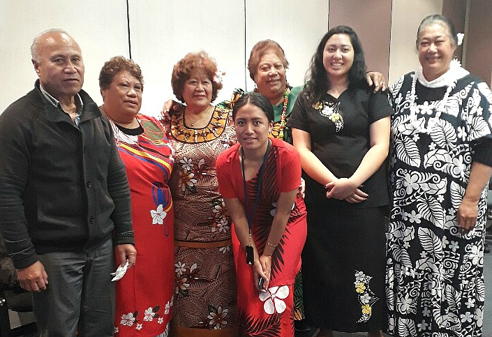 Samoan staff members in their national dress