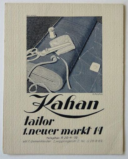 Kahan Tailor business card designed by Louis Kahan, Vienna, c.1935, 14.7 x 11.8 cm, Kahan Family Collection.