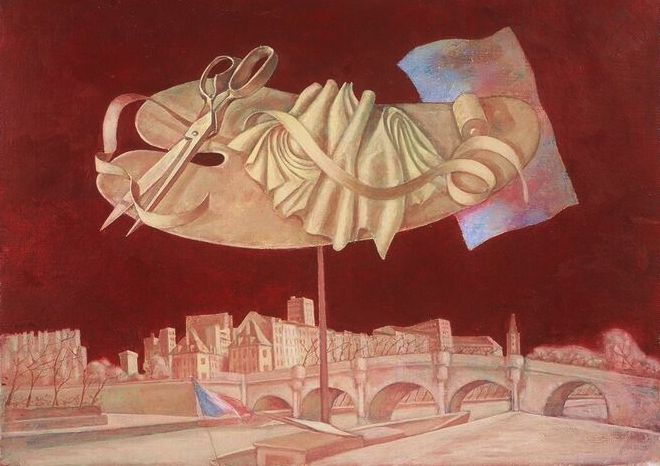 Louis Kahan,  Still life over Paris,  1995, oil on canvas on marine ply, 59 x 79 cm (framed), Kahan Family Collection.