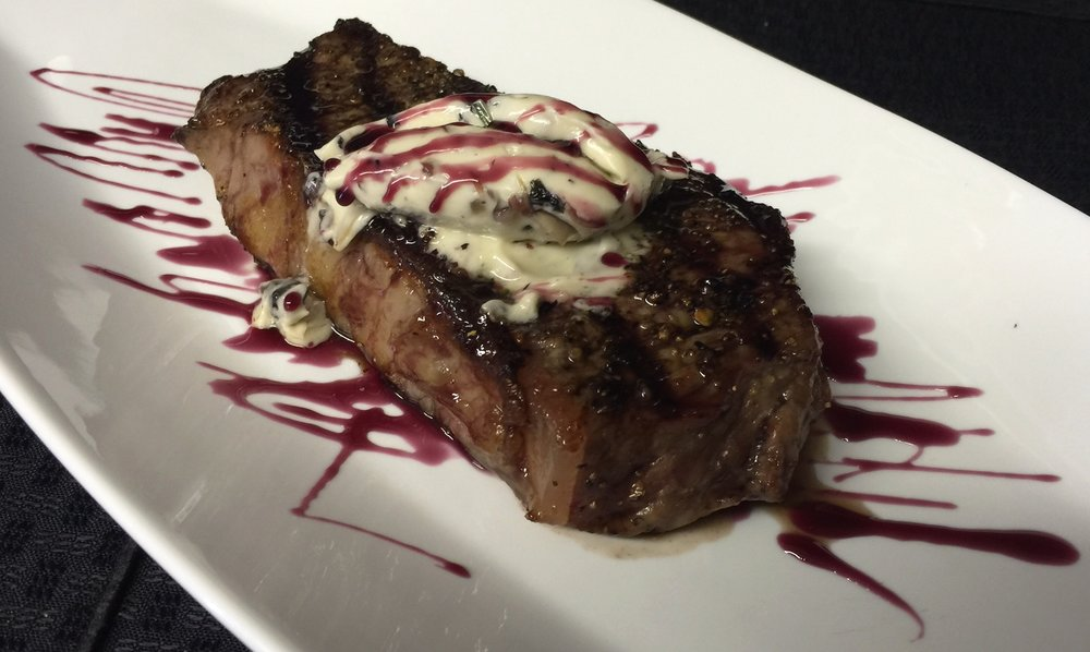 New York Strip with Mushroom Compound Butter & Red Wine Reduction