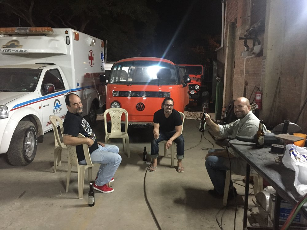 Chillin' with new Kombi friend, Juan Pablo and his sweet orange bus.