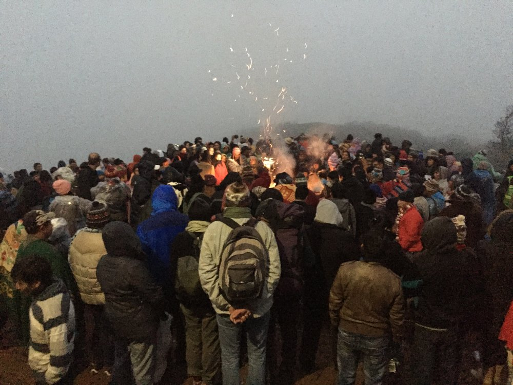Foggy sunrise ceremony to celebrate the Aymara New Year.