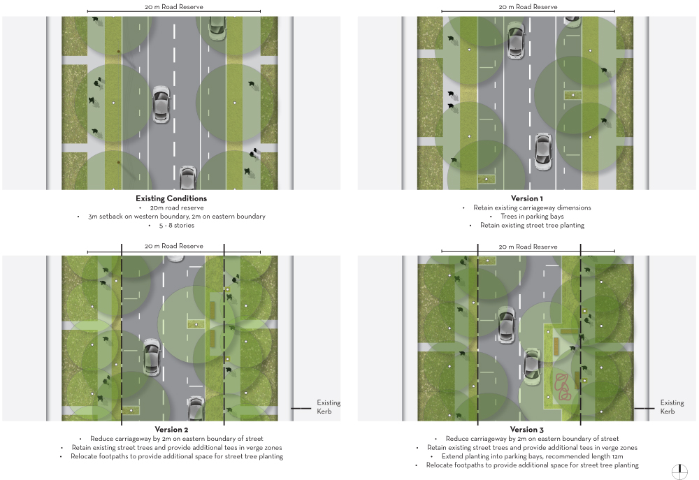 Plan views of streetscape upgrade otpions