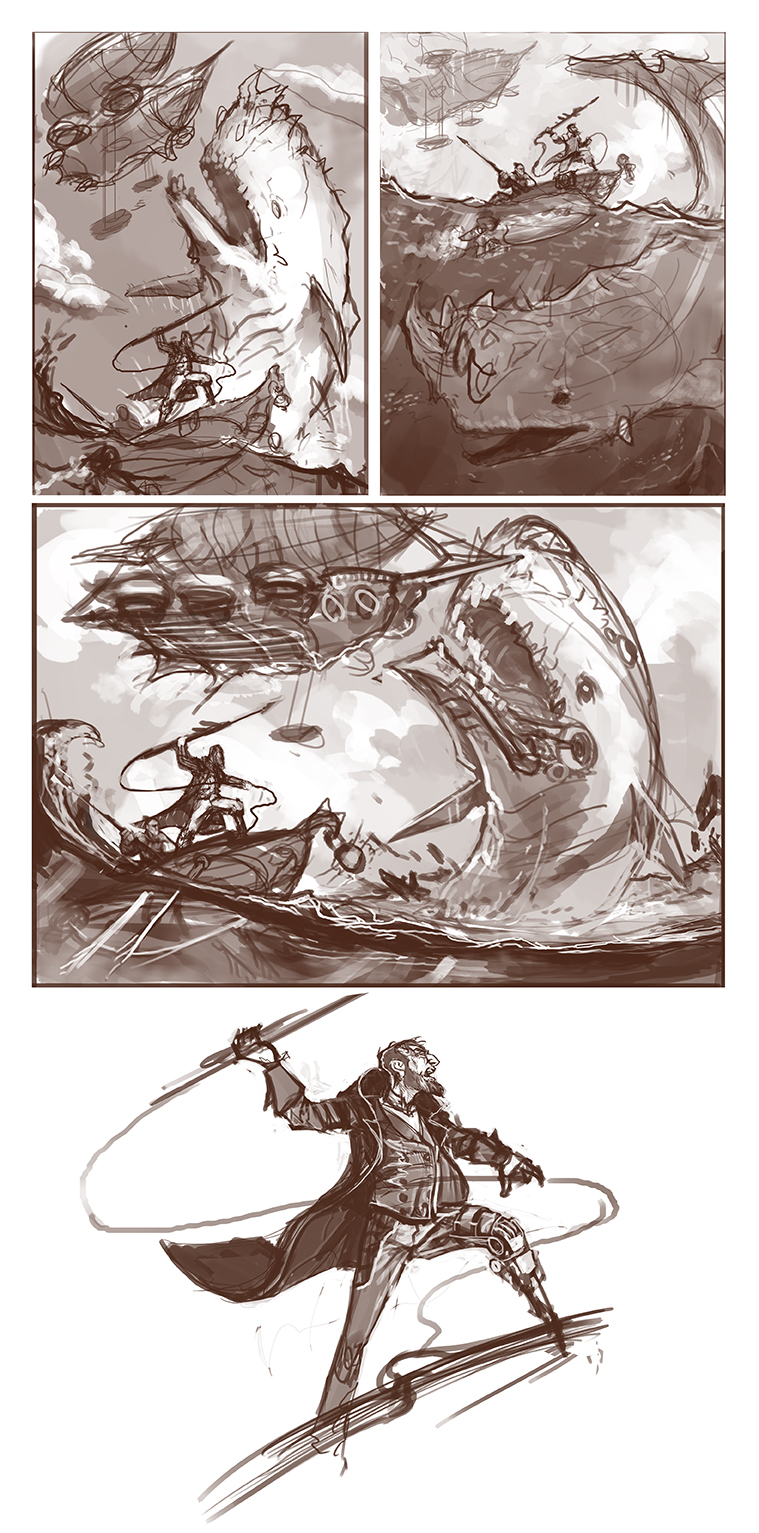 Captain Ahab Sketches