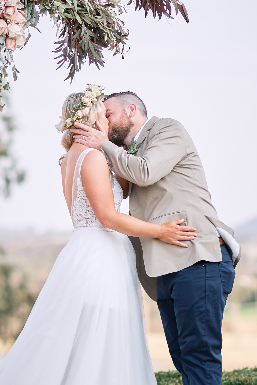 First Kiss at Estate Tuscany Pokolbin in the Hunter Valley by wedding photographer Joshua Witheford