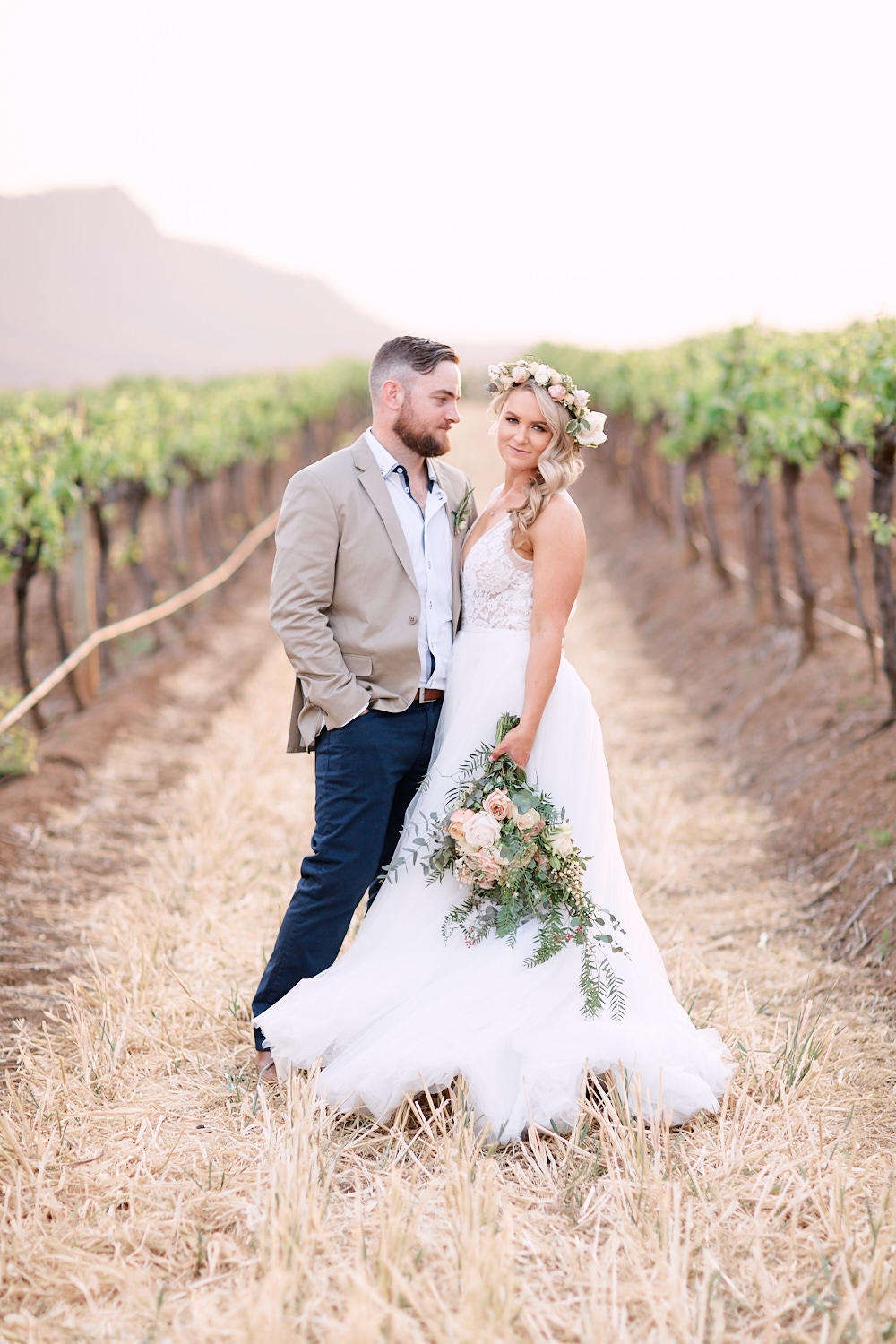 Newlywed portrait in vineyard at Estate Tuscany Pokolbin in the Hunter Valley by wedding photographer Joshua Witheford