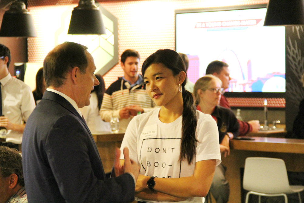 Mayor Slay talking with Diana Zeng, Full Circle's Executive Director.
