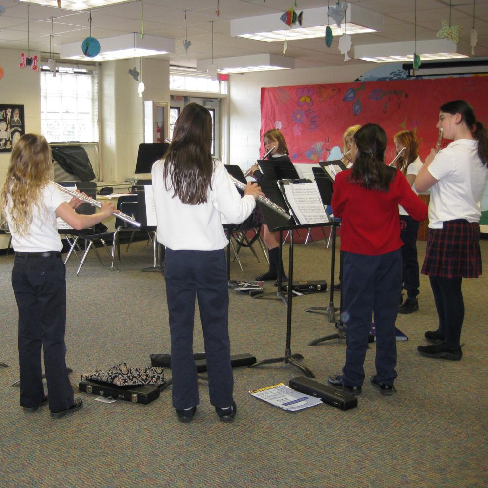 Student flute choir rehearsal, Germantown Academy