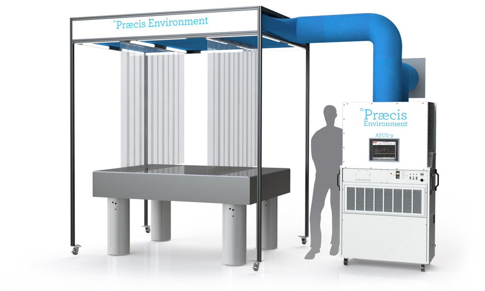 Praecis Environment-9 Complete System. View 2.Outer curtains removed showing inner enclosure.