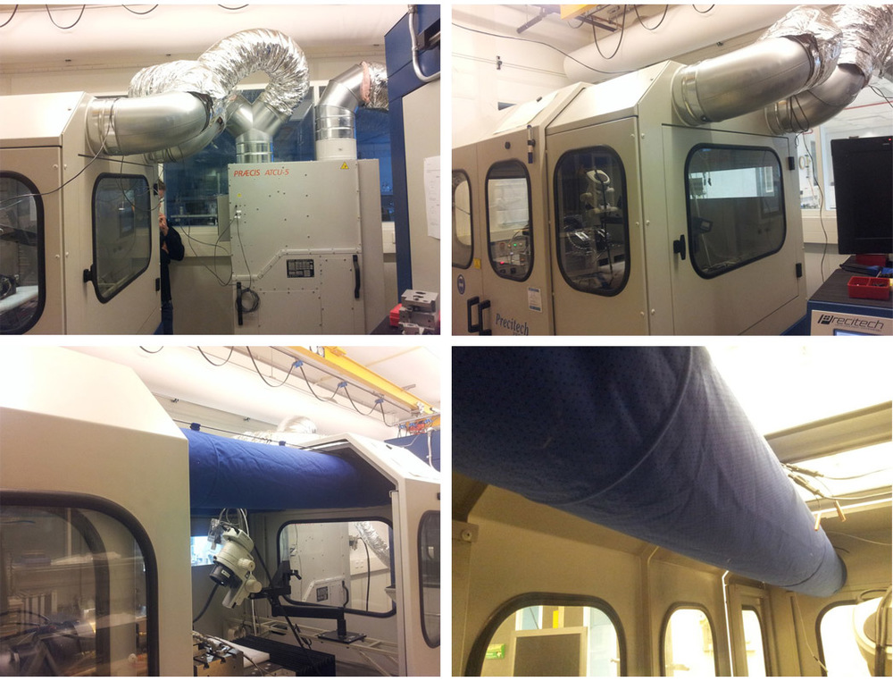 Praecis ATCU-5 retrofit system. Photos of dual duct air-distribution system within the diamond turning enclosure.
