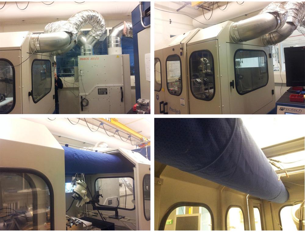 Praecis ATCU-5 retrofit system. Photos of dual duct air-distribution system within the diamond turning enclosure.