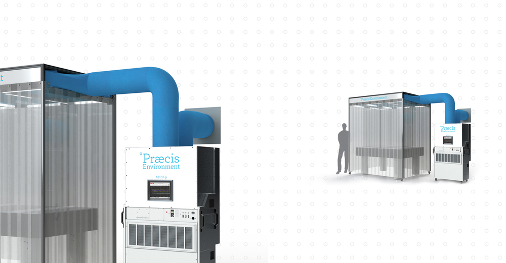 A Praecis Environment 9 complete with a vibration isolation table, an enclosure with internal lighting and custom interior, and Air Temperature Control Unit 9