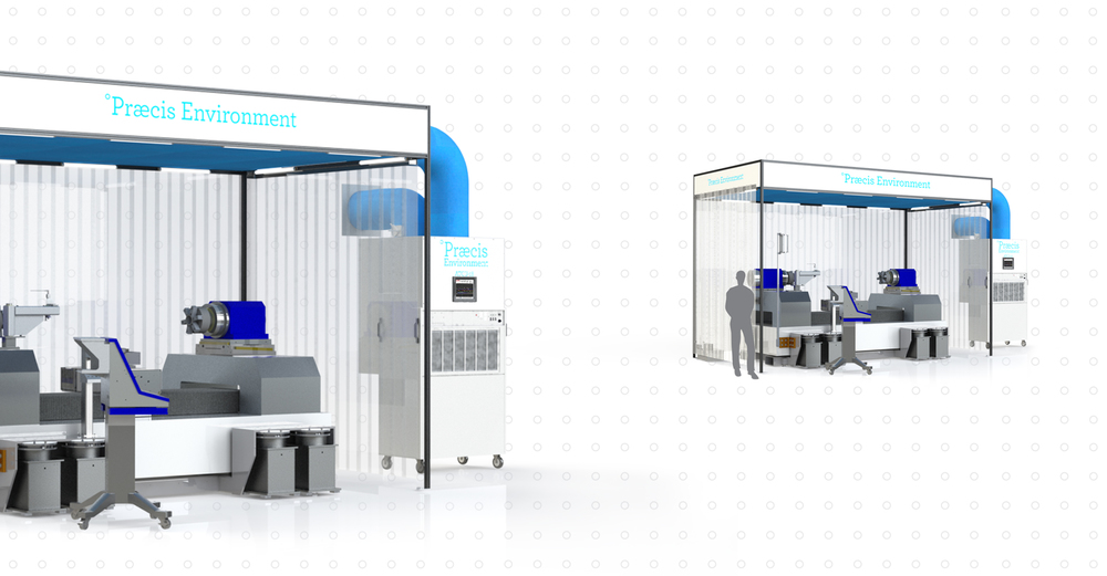 A Praecis Environment 18 complete with a drum roll lathe, an enclosure with internal lighting, fabric ducting, and Air Temperature Control Unit 9