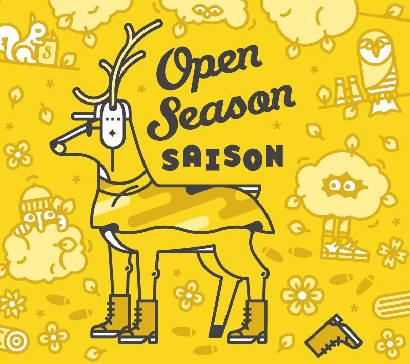 Open Season Saison - 5.1%   It's open season every season with our earthy, spicy saison. Subtly camouflaged in citrus aromas, track one down and enjoy.