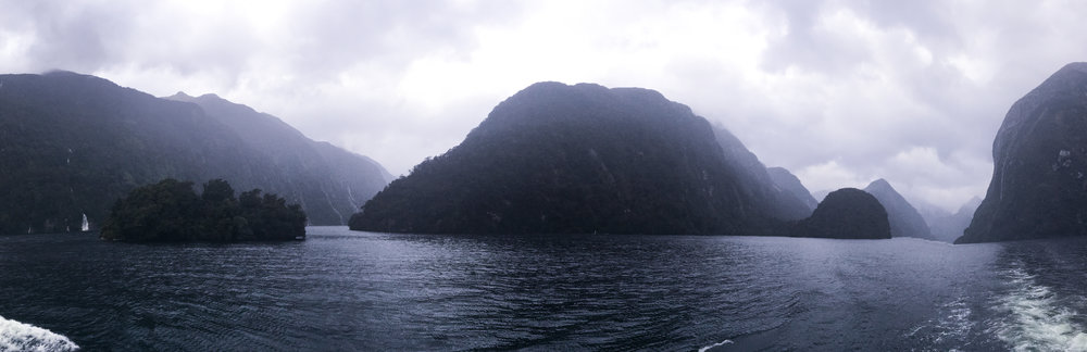 The view from our Doubtful Sound overnight cruise with Real Journeys
