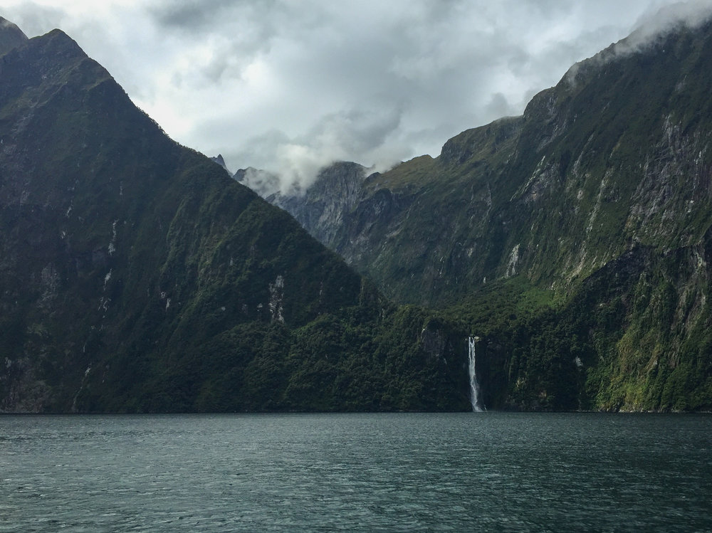 One of many Milford Sound waterfalls.  Not a bad view, is it?