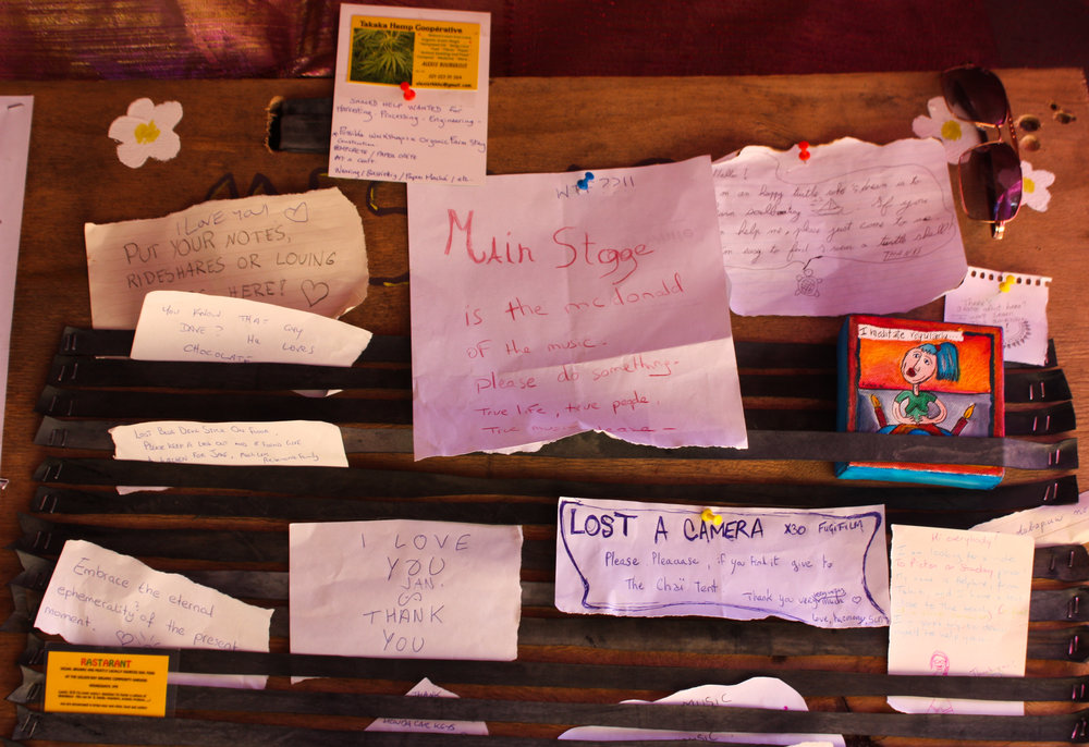The Resonance Festival community board for lost goods or people