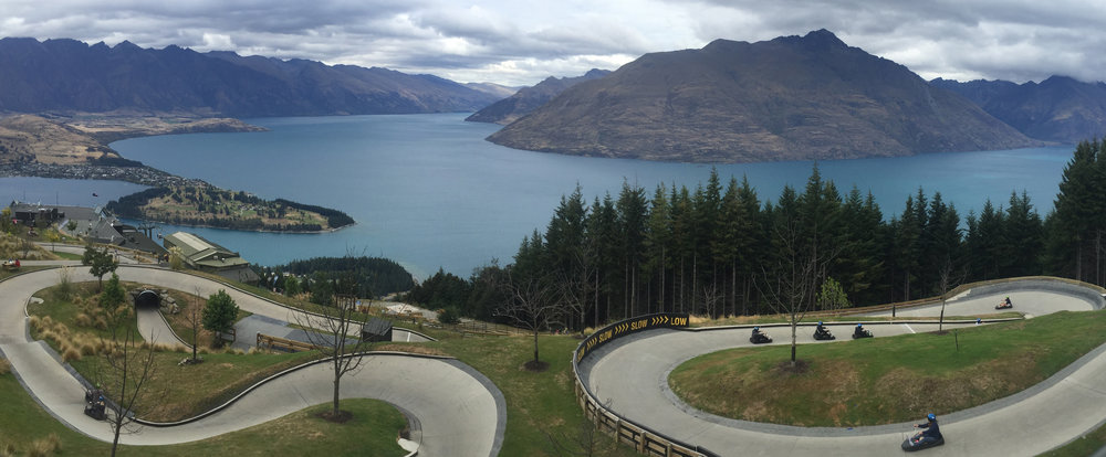 Skyline luge with a view of Queenstown and Lake Wakatipu