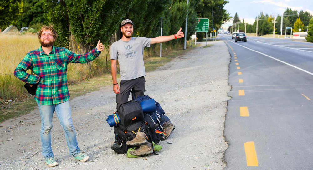 Some of the happy guys I've seen hitchhiking in Queenstown