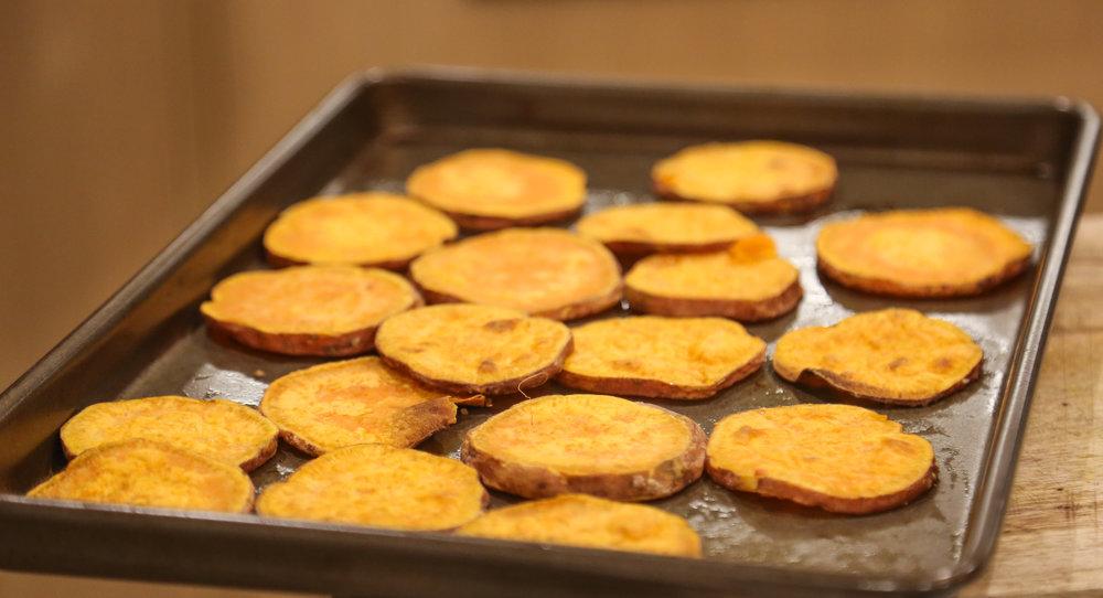 Any leftover kumara slices can also be eaten as kumara chips :)