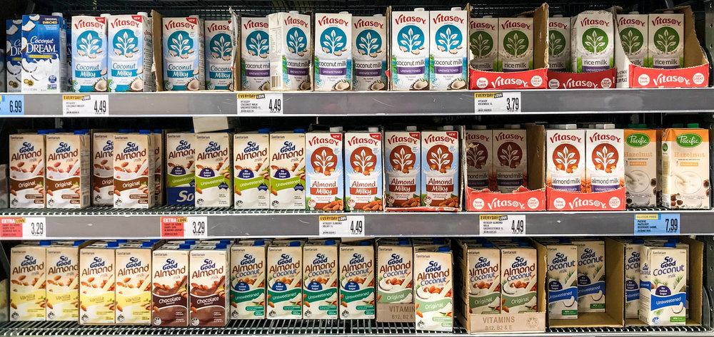 Our selection of non-dairy milks here in Queenstown, New Zealand