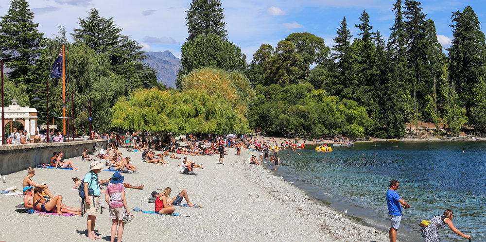 The Queenstown lakefront is the place to be in summer time