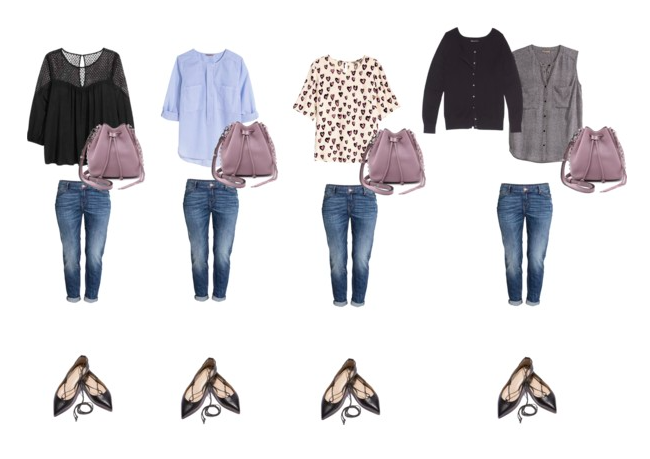 All the tops with jeans.