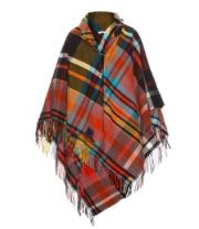 Plaid poncho scarf