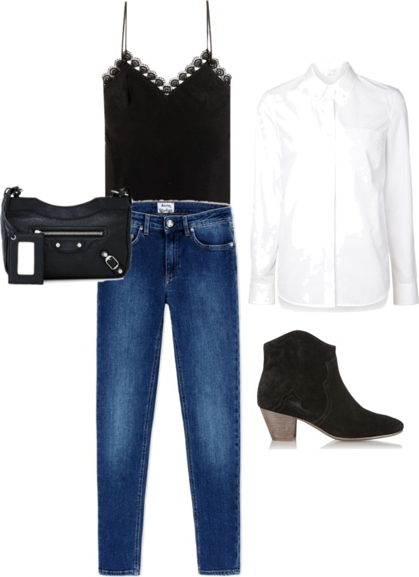 A white button-down with a pretty camisole, jeans, and booties is the perfect weekend brunch outfit.