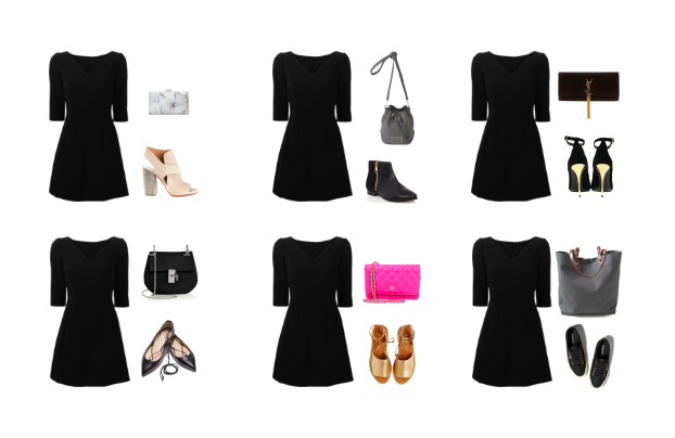 A basic black dress is transformed for every occasion with solely bags and shoes.