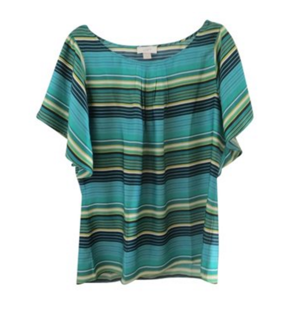 LOFT Green/Navy Striped Top