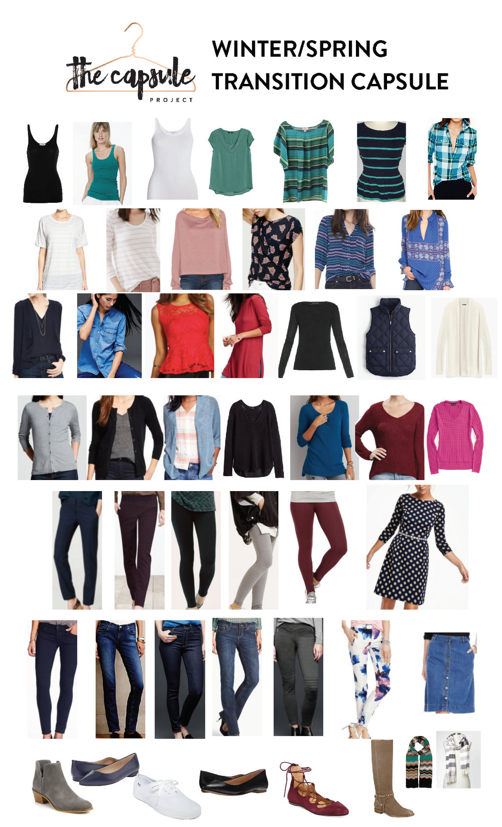 A Winter/Spring Transitional Capsule Wardrobe - learn how to move your clothes into Spring